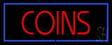 Red Coins Blue Border Neon Sign