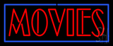 Red Movies With Blue Border LED Neon Sign