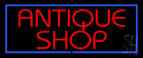 Red Antique Shop Blue Border Neon Sign