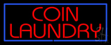 Red Coin Laundry Blue Border Neon Sign
