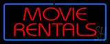 Red Movie Rentals Blue Border LED Neon Sign