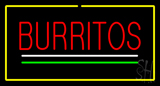 Burritos Yellow Border LED Neon Sign