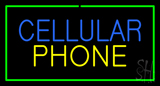 Cellular Phone With Green Border LED Neon Sign