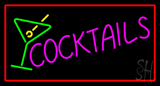 Cocktail With Cocktail Glass Red Border LED Neon Sign