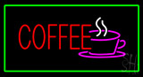 Red Coffee With Green Border LED Neon Sign