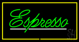 Green Cursive Espresso Rectangle Yellow LED Neon Sign