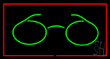 Glasses Logo Rectangle Red LED Neon Sign