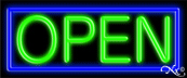 Blue Border With Green Open Neon Sign