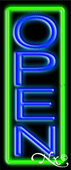 Green Border With Blue Vertical Open Neon Sign