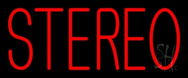 Red Stereo Block Neon Sign