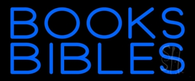 Blue Books Bibles Neon Sign