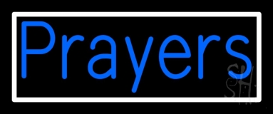 Blue Prayers With Border Neon Sign