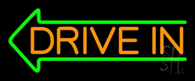 Orange Drive In Green Arrow Neon Sign