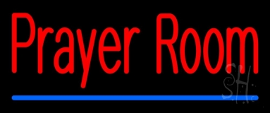 Prayer Room With Line Neon Sign