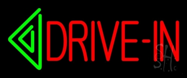 Red Drive In Green Arrow Block Neon Sign