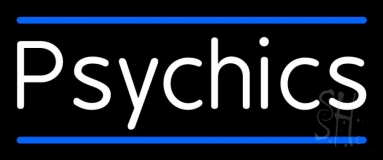 White Psychics With Blue Line Neon Sign