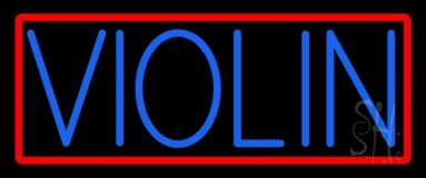 Blue Violin Red Border Neon Sign