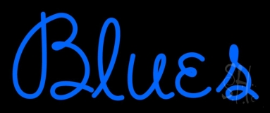 Cursive Blue Blues Neon Sign