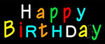 Multicolored Happy Birthday LED Neon Sign
