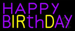 Purple And Yellow Happy Birthday LED Neon Sign