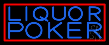 Blue Liquor Poker Neon Sign