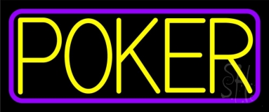 Border With Poker Neon Sign