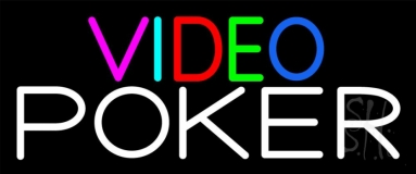 Multi Color Video Poker Neon Sign