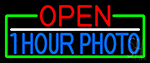 Open 1 Hour Photo With Green Border Neon Sign