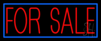 Red For Sale Blue Border Neon Sign