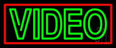 Double Stroke Green Video Neon Sign