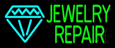 Green Jewelry Repair Block Neon Sign