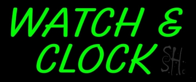 Green Watch And Clock Neon Sign