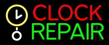 Red Clock Green Repair Block Neon Sign