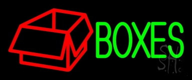 Green Boxes Red Logo 1 Neon Sign