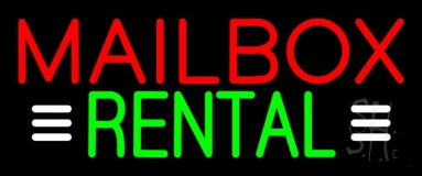 Red Mailbox Rental With White Line 1 Neon Sign