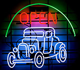 Antique Hot Rod Open Neon Sign