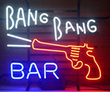 Bang Bang Bar With Gun Neon Sign