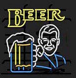 Beer Glass With Man Logo Neon Sign
