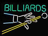 Billiards With Hand Logo Neon Sign