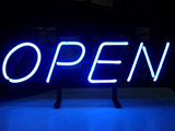 Blue Open Neon Sign