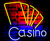Casino With Playing Card Neon Sign