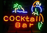 Cocktail Bar Parrot Logo Neon Sign