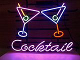 Cocktail Martini Glass Logo Neon Sign