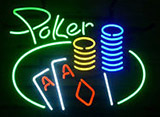 Cursive Green Poker Neon Sign