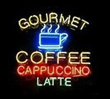 Gourmet Coffee Cappuccino Latte Logo Neon Sign