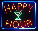 Happy Hour Martini Glass Neon Sign