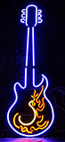 Hot Fire Blue Guitar Neon Sign