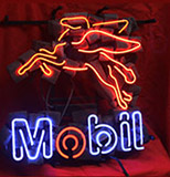 Mobil Oil Gas Logo Neon Sign