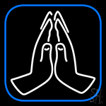 Praying Hands Vector Icon LED Neon Sign