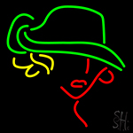 Girl Logo With Green Hat Neon Sign